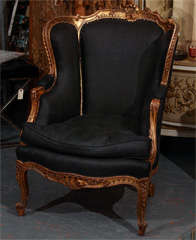 French Chair In Black Linen image 2