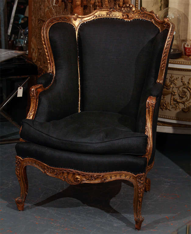 French Chair In Black Linen 2