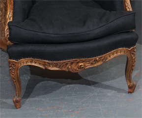 French Chair In Black Linen image 3