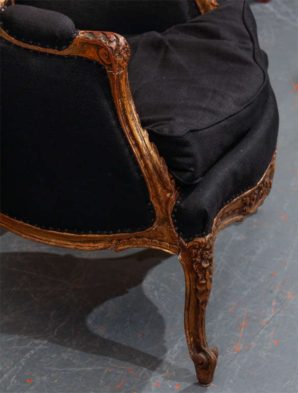 French Chair In Black Linen 4