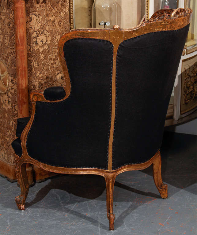 French Chair In Black Linen 8