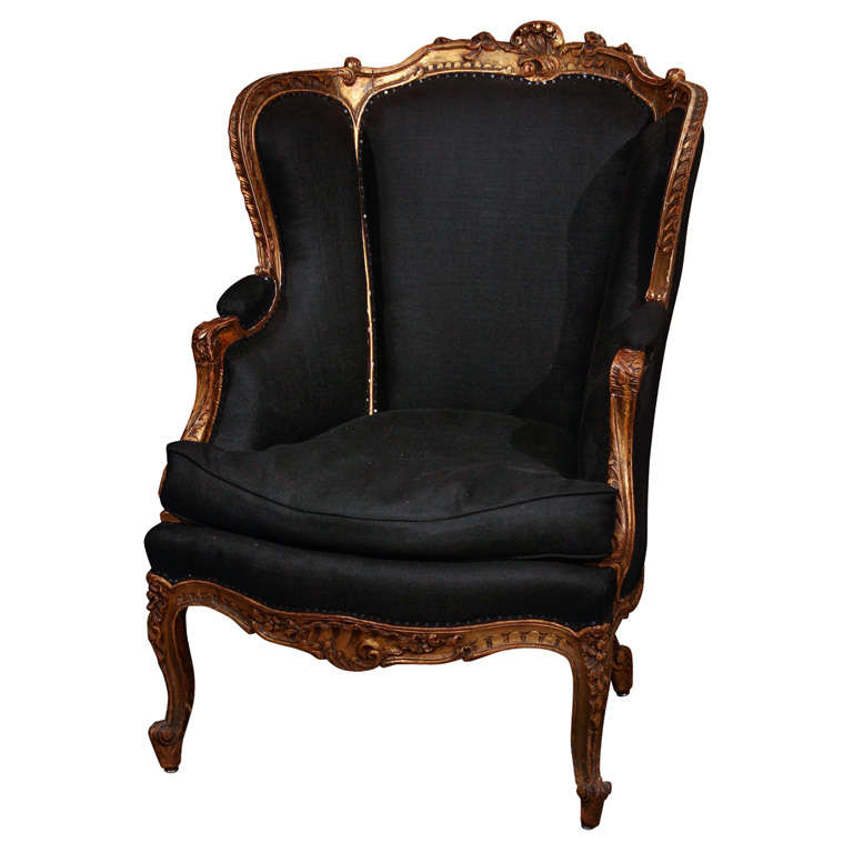 French Chair In Black Linen 1