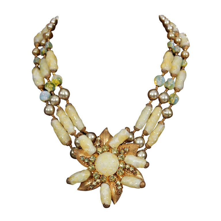 haskel jewelry yellow miriam haskell necklace for sale at 1stdibs 6535