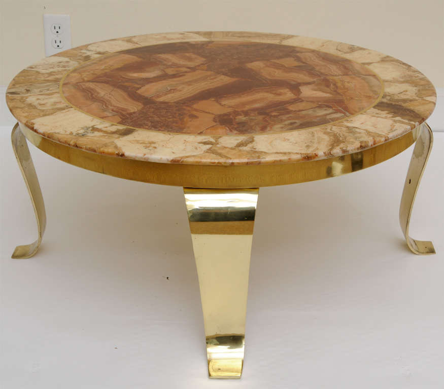 Mexican Onyx Marble and Brass Signed Cocktail Table In Excellent Condition For Sale In North Miami, FL
