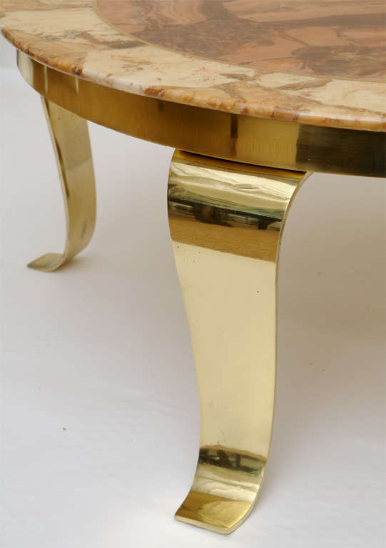 Mexican Onyx Marble and Brass Signed Cocktail Table For Sale 1