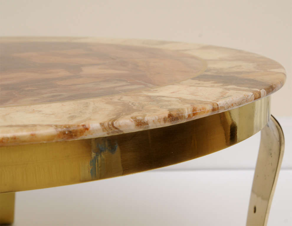 Mexican Onyx Marble and Brass Signed Cocktail Table For Sale 6