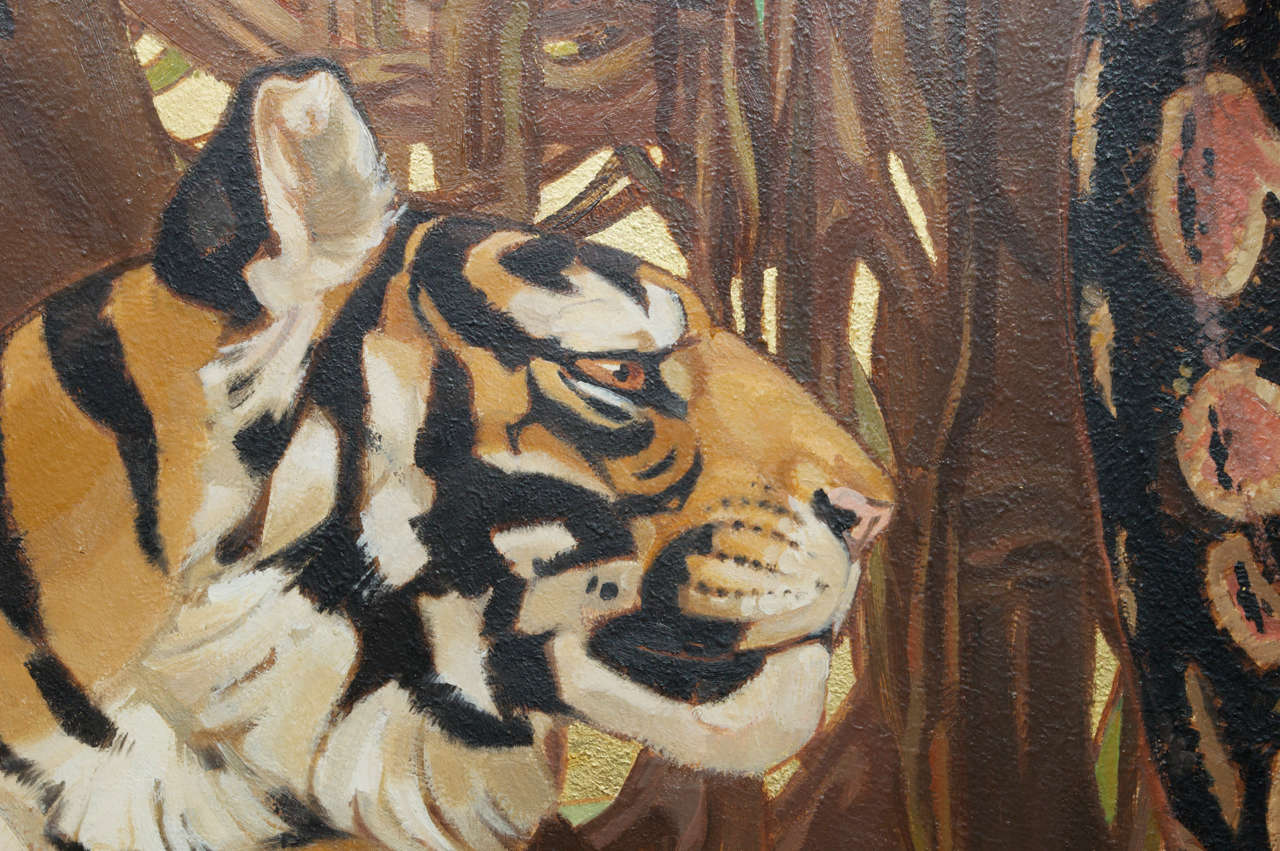 Art Deco Period Oil On Board Of A Bengal Tiger And A