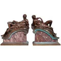 "Pair of Grand Tour Bronzes, ""Night and Day"" Michaelangelo"