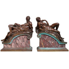 "Pair of Grand Tour Bronzes, ""Night and Day"" Michaelangelo"