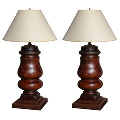 Pair of 19th Century Solid Mahogany Turnings as Lamps