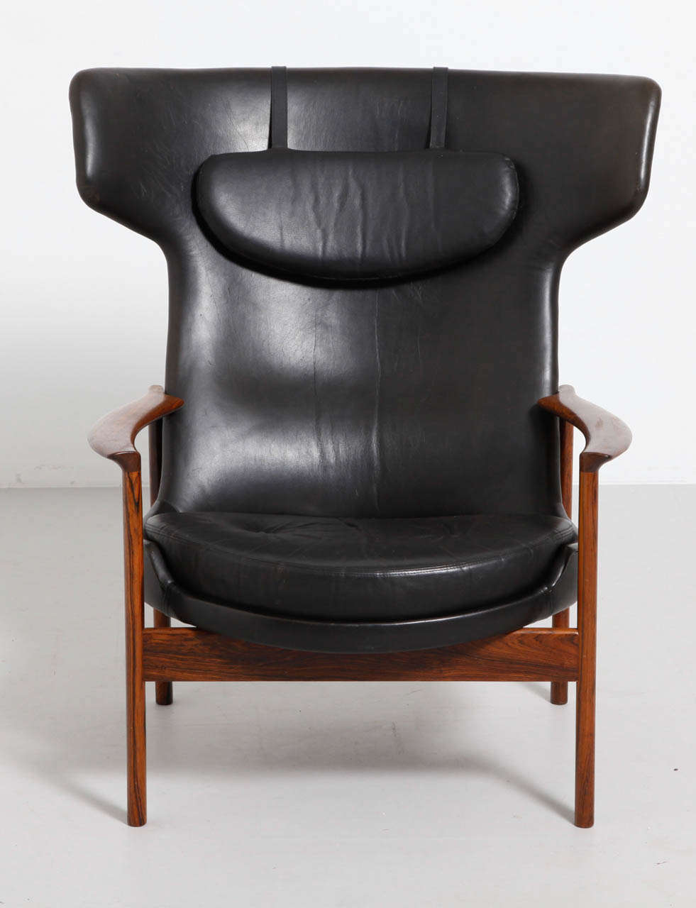 Scandinavian Modern Large Wing Back Lounge Chair Designed By Ib  Kofod Larsen, Denmark For