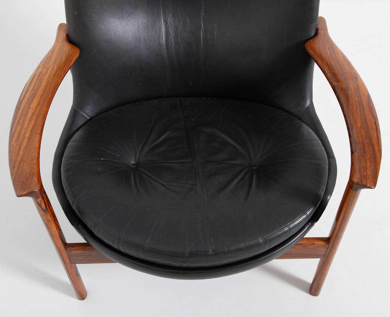Large Wing Back Lounge Chair Designed By Ib Kofod Larsen
