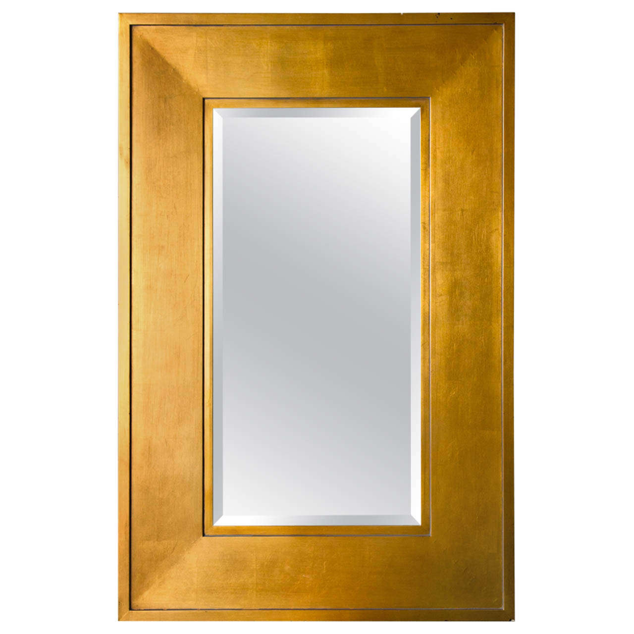 1970 39 s gold framed mirror with beveled mirror glass at 1stdibs for Gold wall mirror