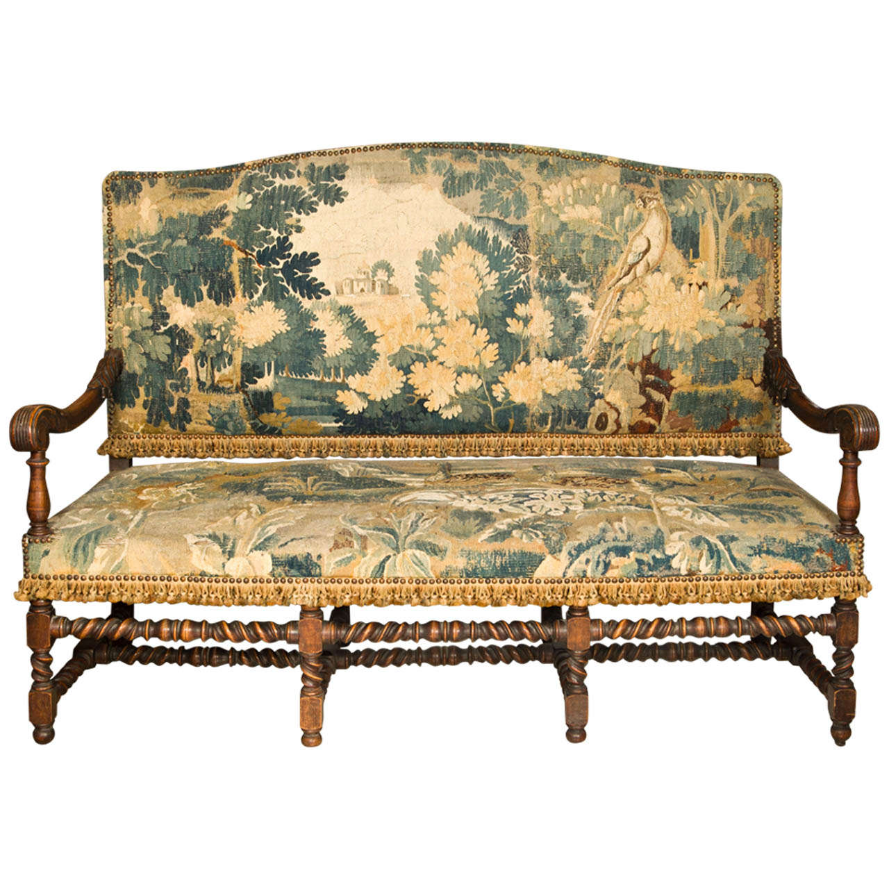 19thc English Oak Hall Bench Settee With Antique Tapestry At 1stdibs