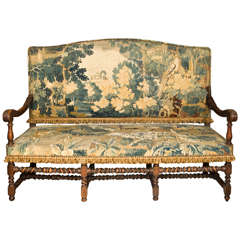 19thc English Oak Hall Bench / Settee with Antique Tapestry