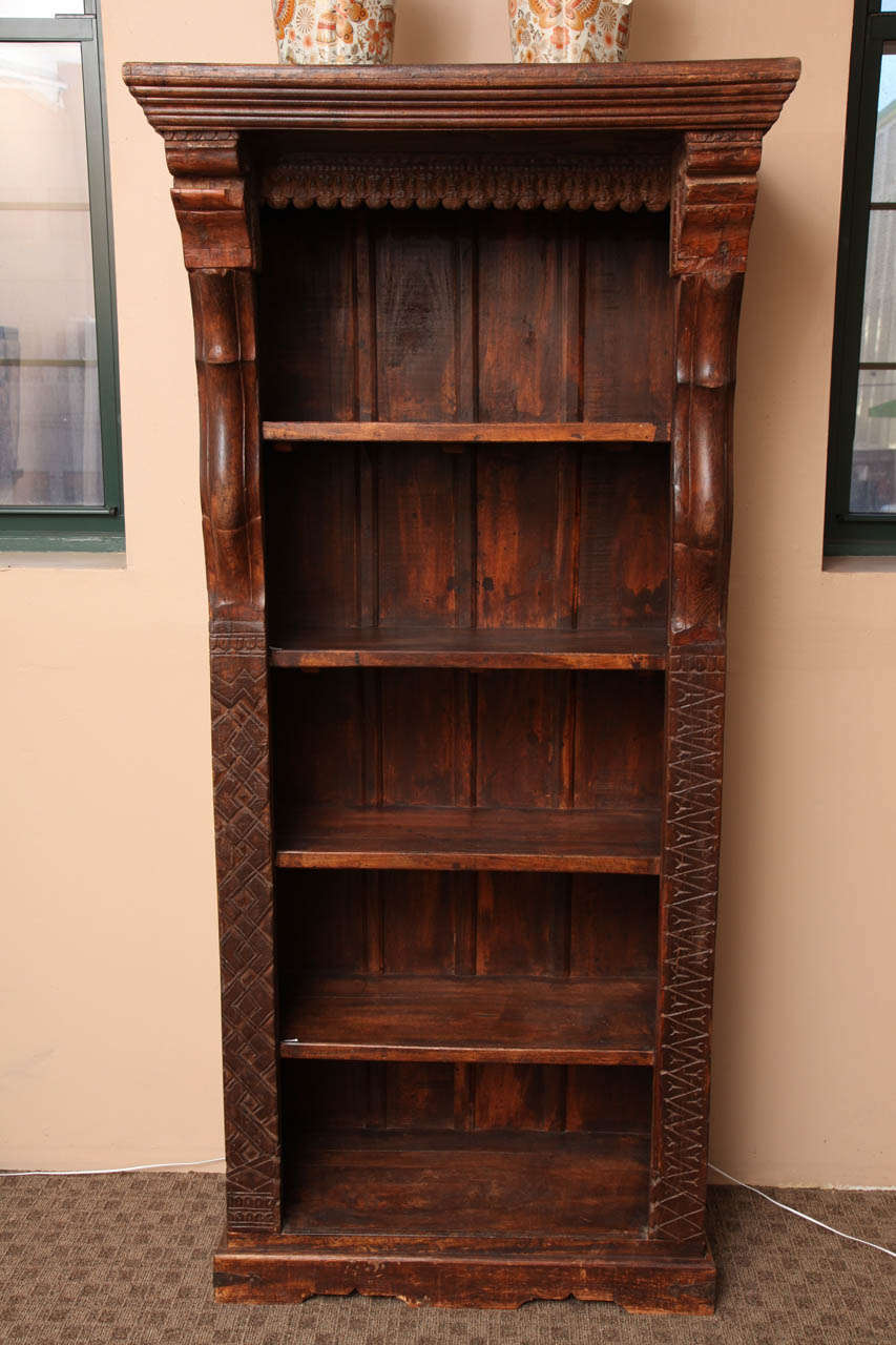 Tall Carved Wood Open Bookcase with Shelves from the ...