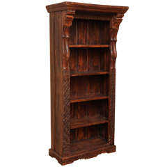 Tall Carved Wood Open Bookcase with Shelves from the Island of Java