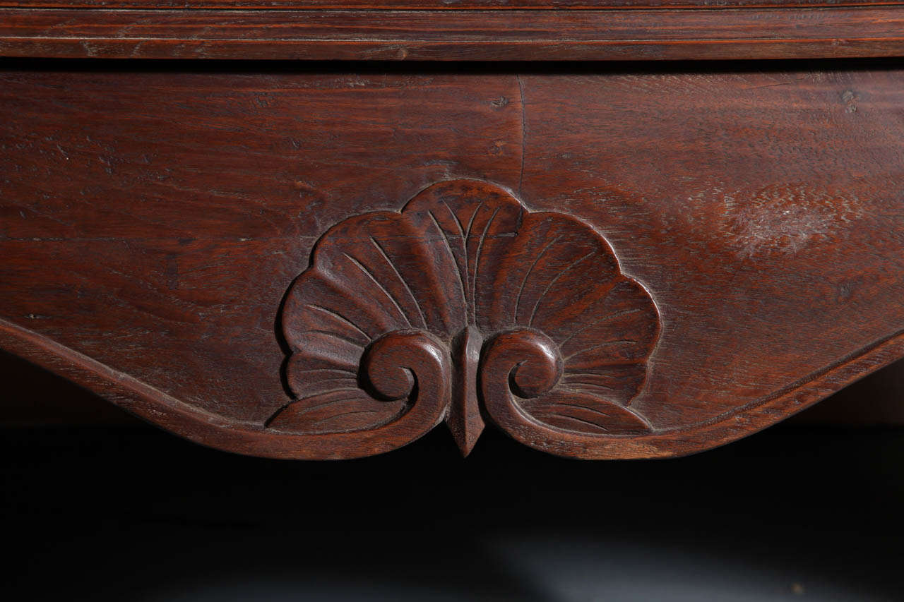 Carved Vintage Large Javanese Hutch with Double Glass Doors and Sides and Bonnet Top For Sale