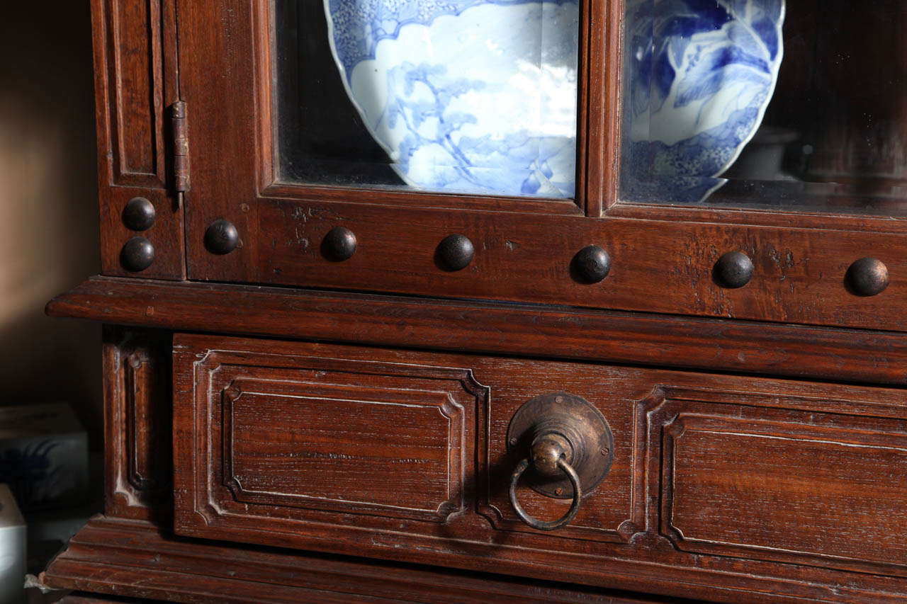 20th Century Vintage Large Javanese Hutch with Double Glass Doors and Sides and Bonnet Top For Sale