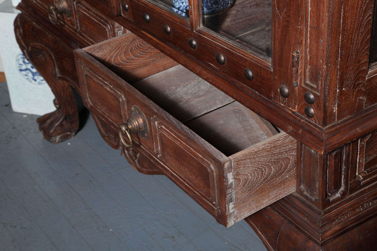 Vintage Large Javanese Hutch with Double Glass Doors and Sides and Bonnet Top For Sale 1