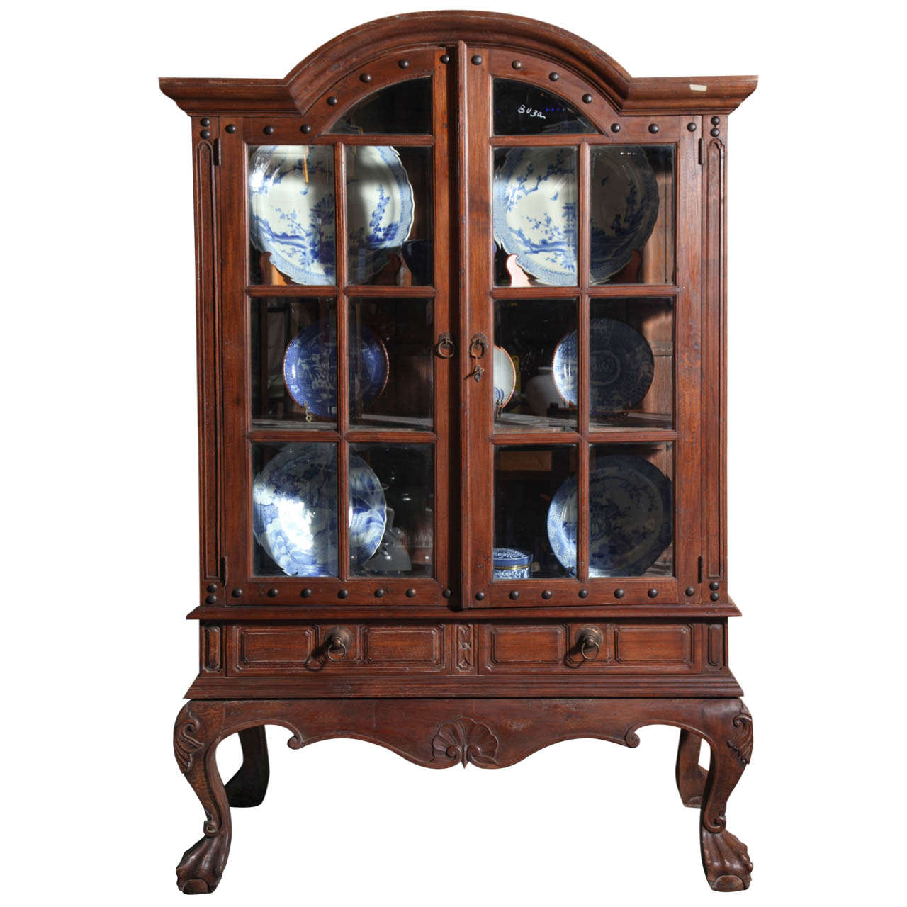 Vintage Large Javanese Hutch with Double Glass Doors and Sides and Bonnet  Top For Sale - Vintage Large Javanese Hutch With Double Glass Doors And Sides And