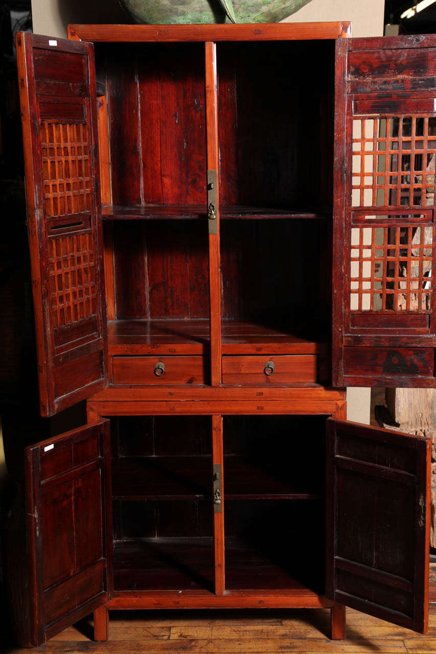 Tall 19th century chinese kitchen cabinet with fretwork for Chinese kitchen cabinets