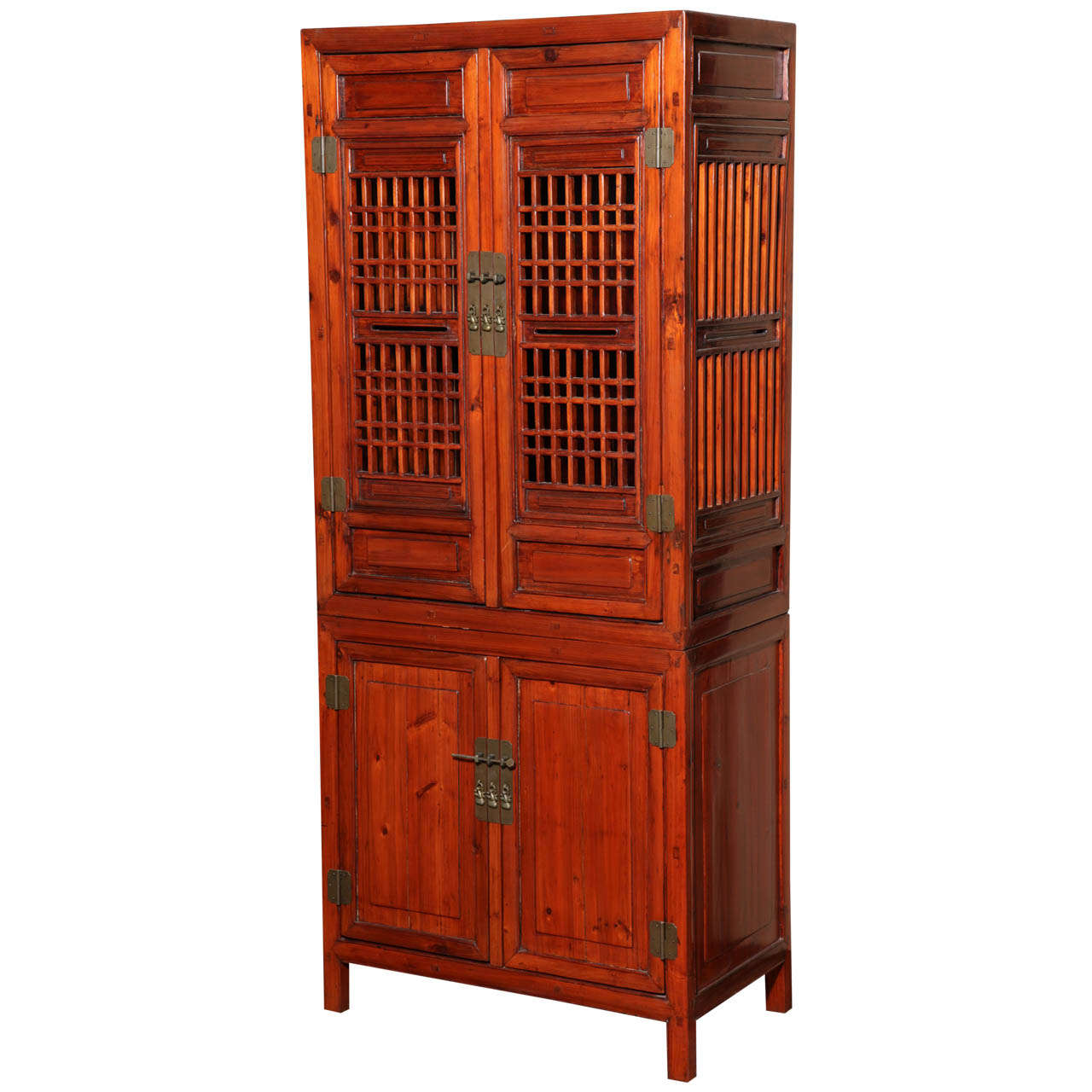 Tall 19th Century Chinese Kitchen Cabinet With Fretwork Upper Doors For At 1stdibs