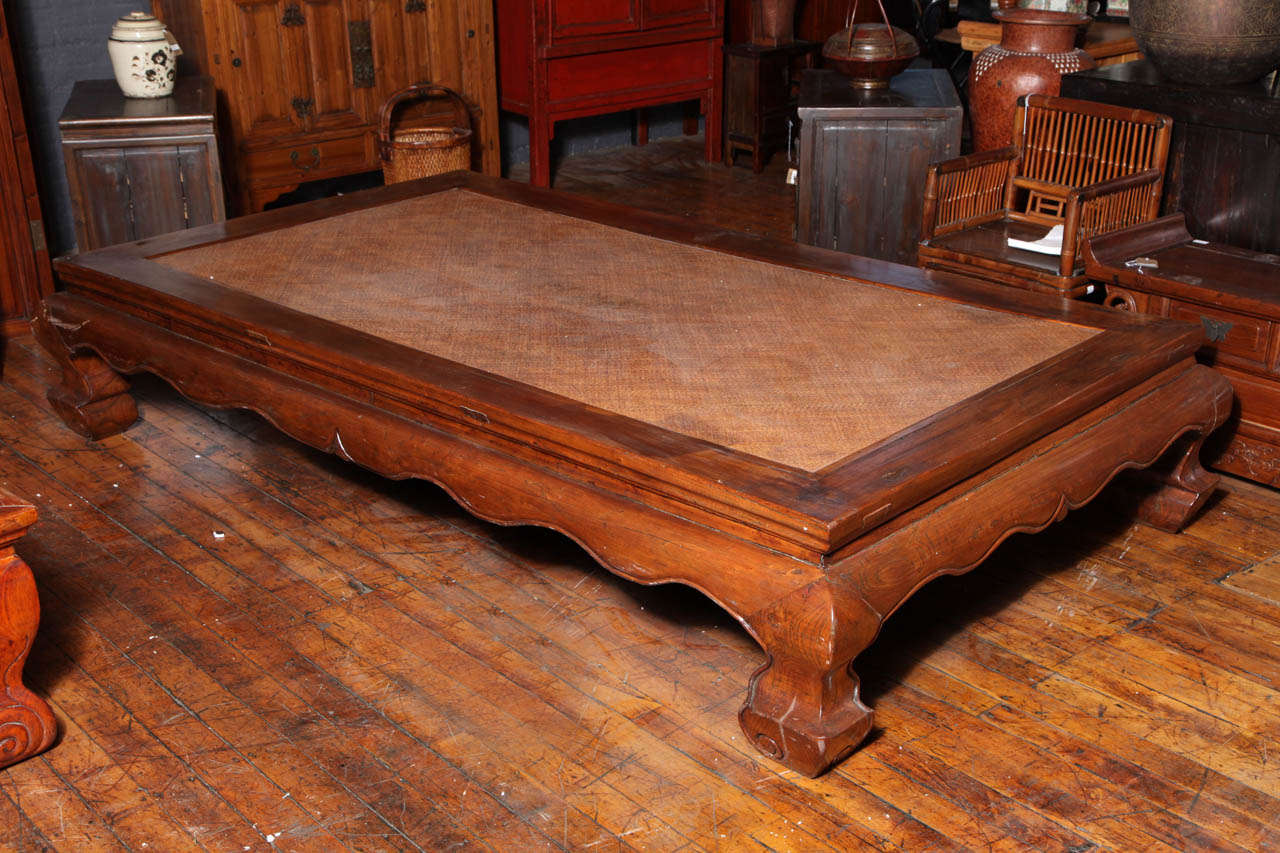 19th Century Very Large Kang Woven Top Coffee Table At 1stdibs