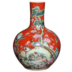 Vintage Kendi Style Chinese Hand-Painted Porcelain Vase with Birds, circa 1950