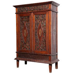 Antique Javanese Teakwood Cabinet with Detailed Carvings, Early 20th Century