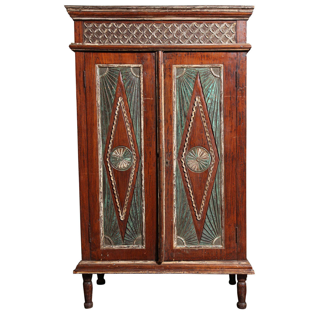 Early 20th Century Two-Door Painted Teak Javanese Cabinet with Diamond Patterns