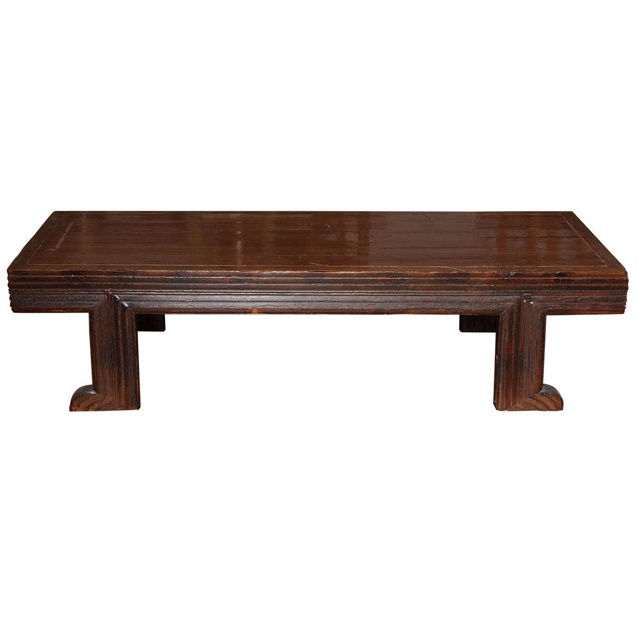 19th Century, Long Chinese Fine Elmwood Coffee Table with Unusual Recessed Legs