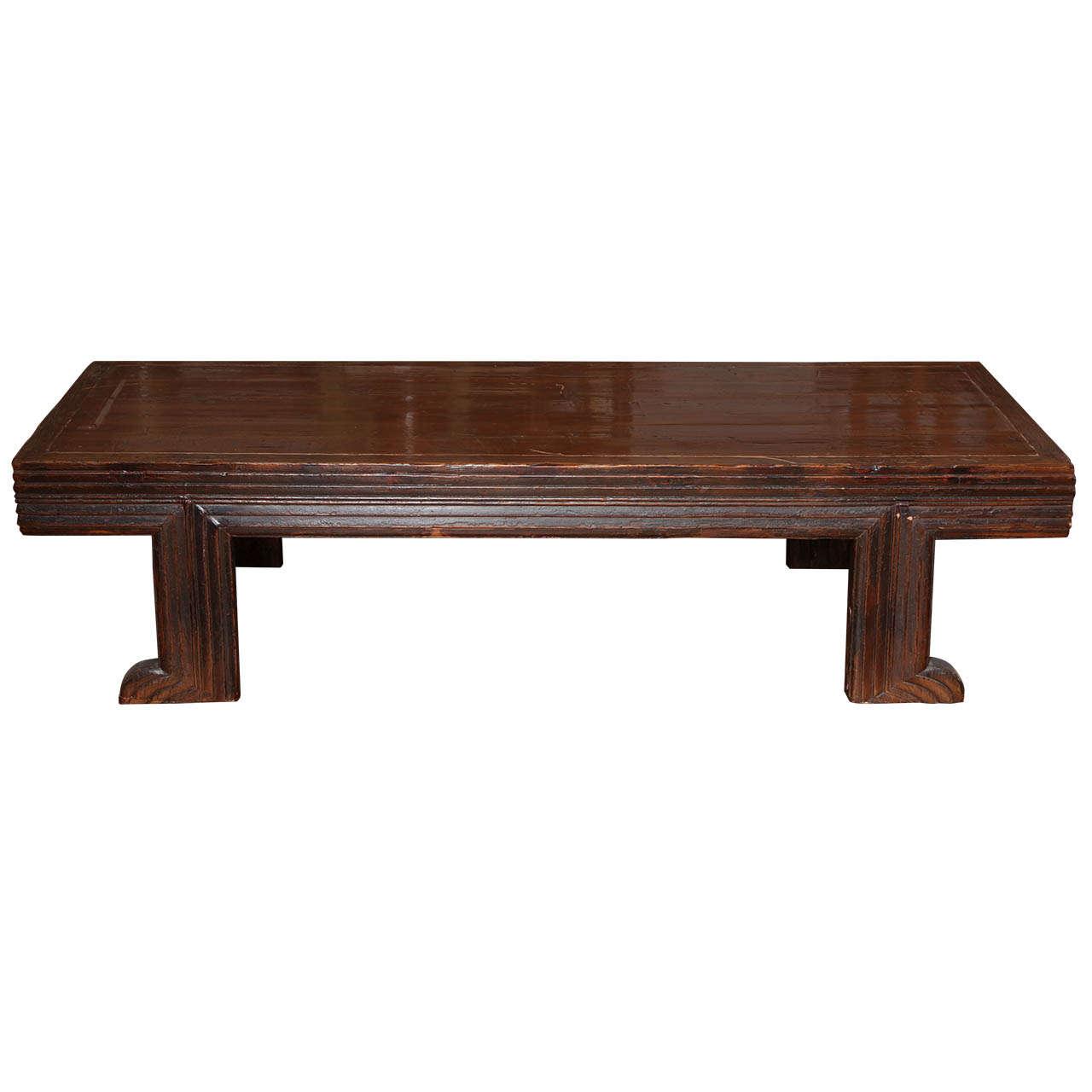 Unusual Long Chinese Fine Elmwood Coffee Table At 1stdibs