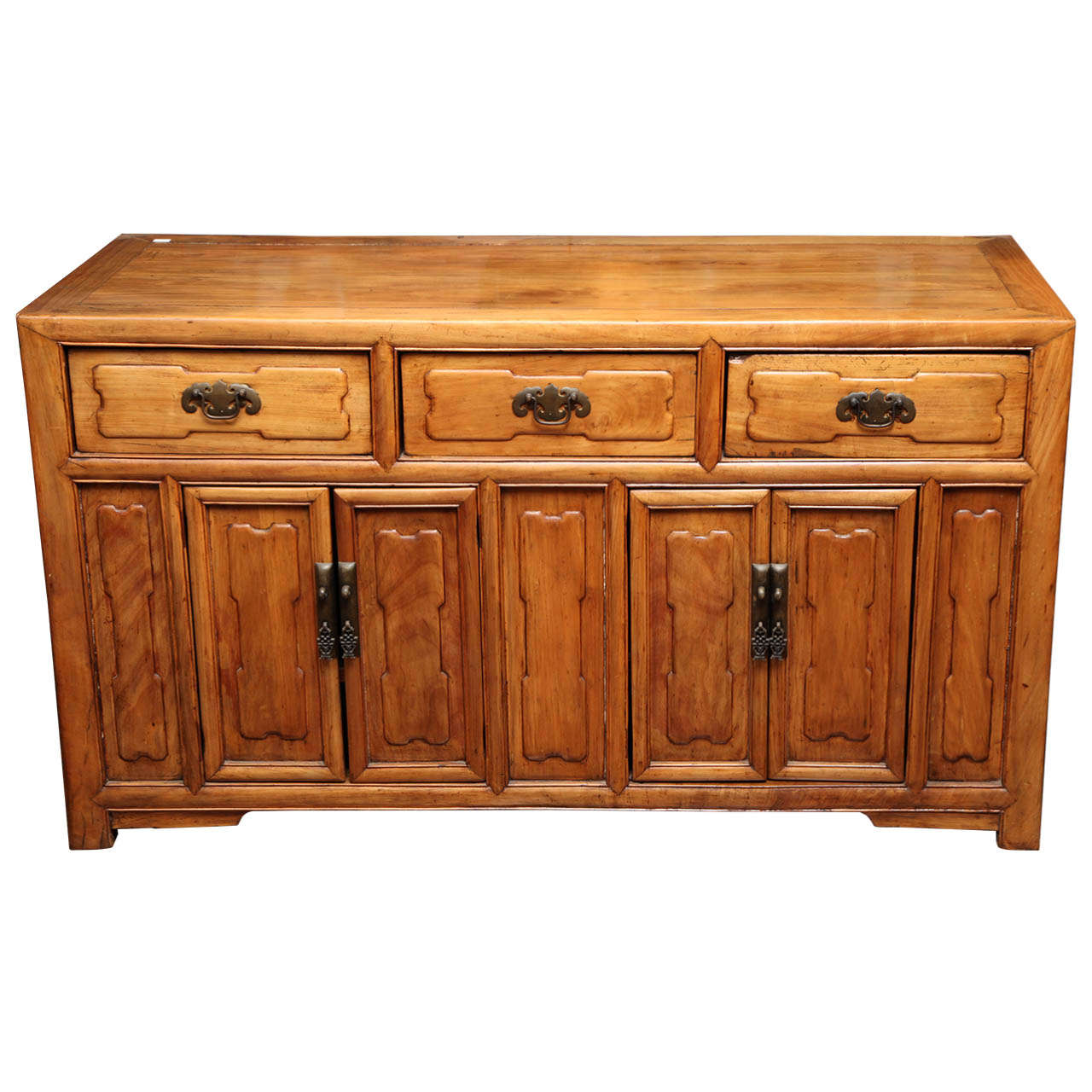 Antique Chinese Raised Elmwood Panel Sideboard from the Early 20th Century