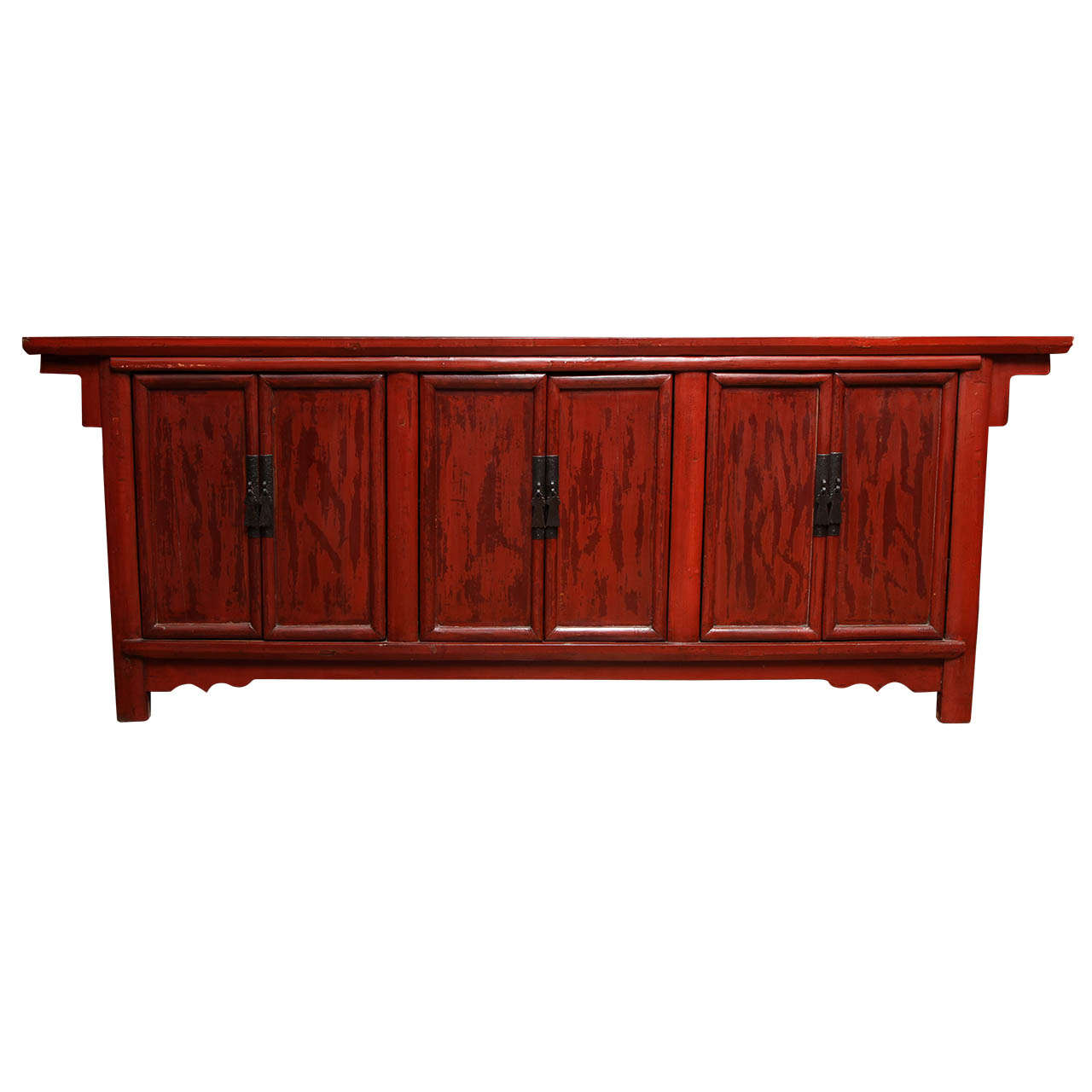 Antique Shanxi Large Red Lacquered Elm Sideboard from China, Early 20th Century