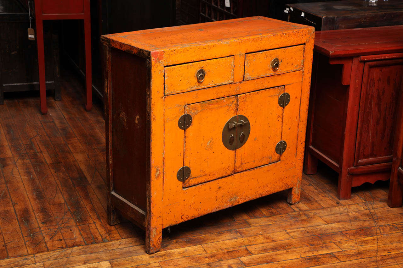 Antique Chinese Side Cabinet With Distressed Orange Lacquer 2