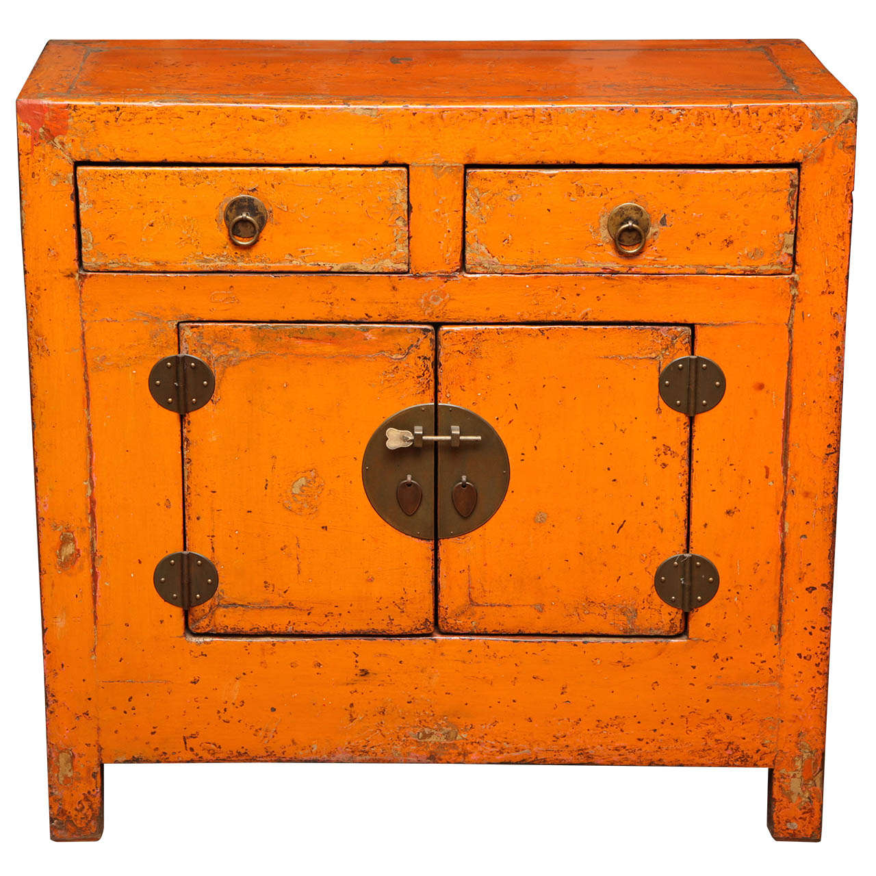 Antique Chinese Side Cabinet with Distressed Orange Lacquer For Sale - Antique Chinese Side Cabinet With Distressed Orange Lacquer At 1stdibs