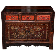 Gansu Early 20th Century Painted Sideboard with Chinese Flower Patterns
