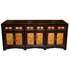 Antique Chinese Black Painted Gansu Sideboard with Hand-Painted Floral Motifs