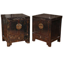 Pair of Qing Dynasty Chinese Bedside Lacquered Cabinets from the 19th Century