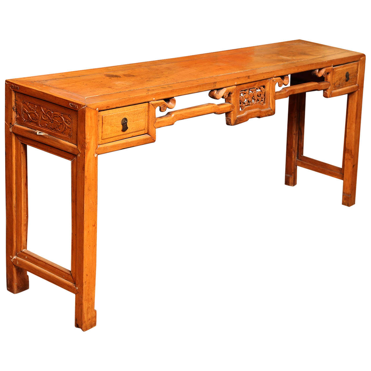 Chinese 19th century natural elm antique console table with chinese 19th century natural elm antique console table with carved decor 1 geotapseo Gallery