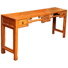 Chinese, 19th Century, Natural Elm Antique Console Table with Carved Decor