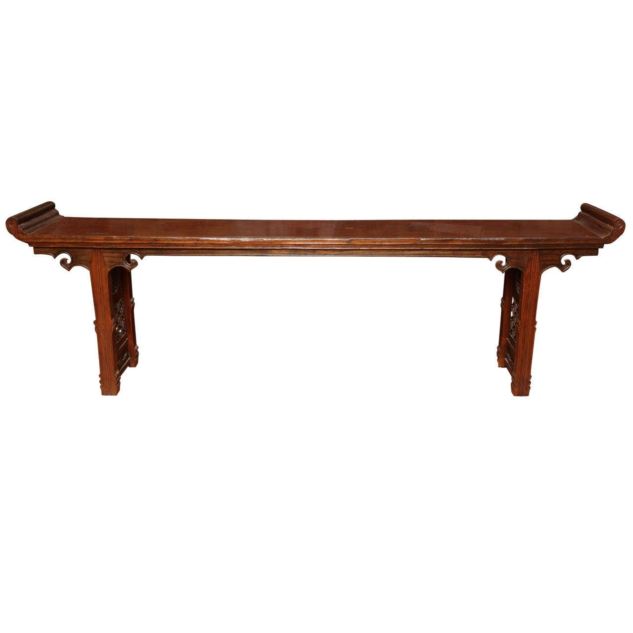 19th century chinese long carved wooden console table with 19th century chinese long carved wooden console table with fretwork design 1 geotapseo Gallery