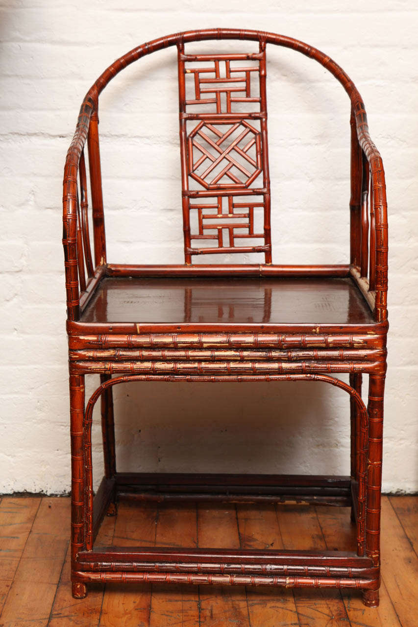 Antique chinese horseshoe back bamboo armchair only 1 for Vintage horseshoes for sale