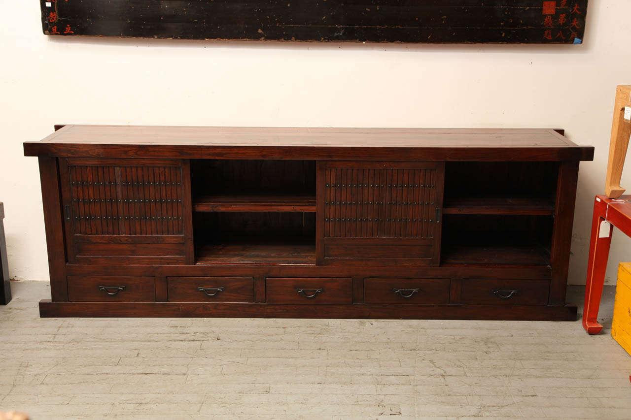 Japanese Style Elmwood Mizuya Dansu Buffet with Sliding Doors and Drawers For Sale 2