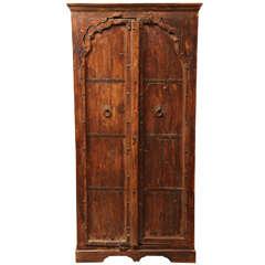 Gujarat Indian Carved Sheesham Wood Cabinet with Iron Hardware, 19th Century