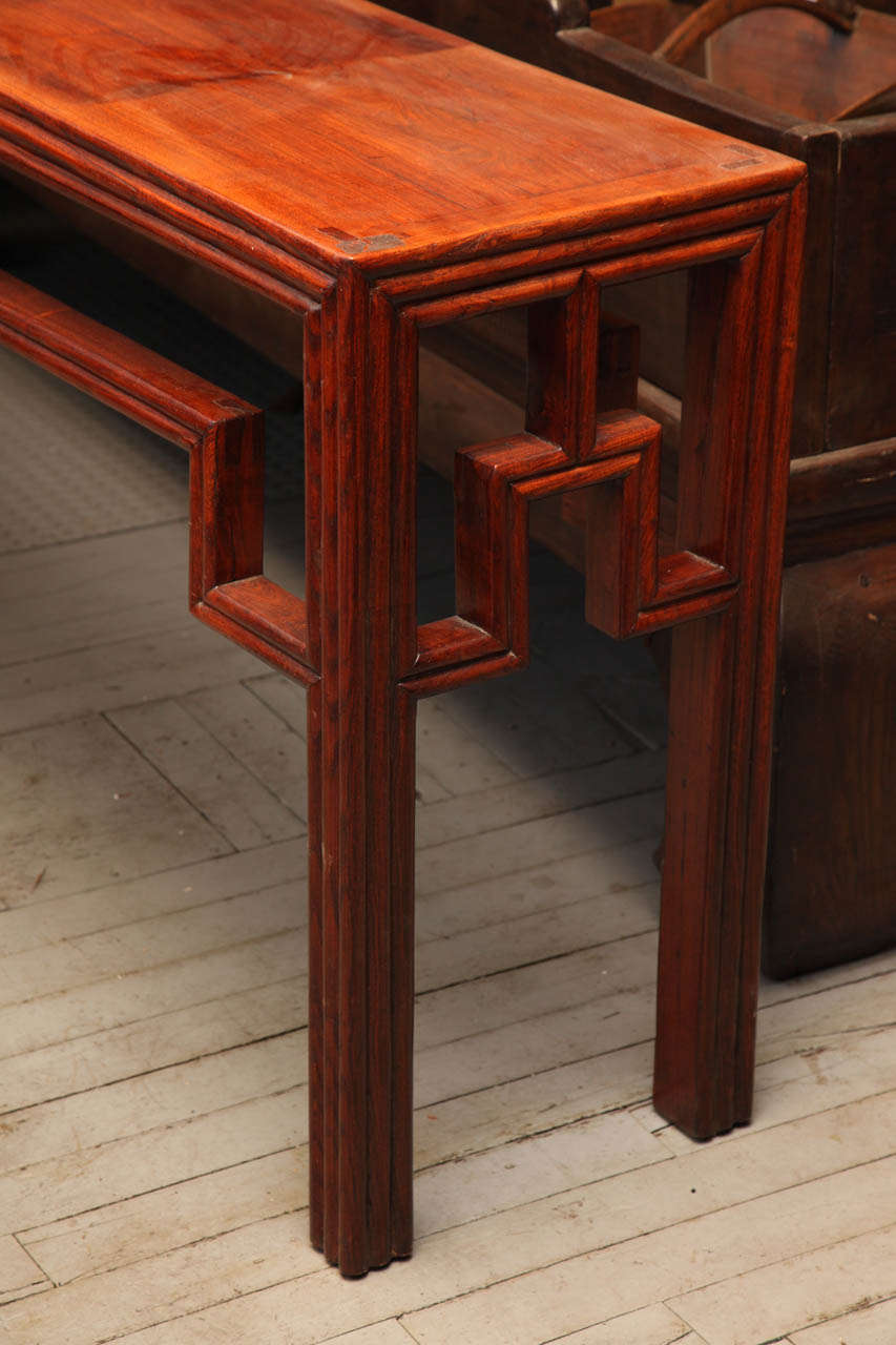 unusual long antique elm wood console table for sale at
