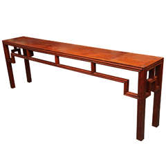 Antique Chinese Geometrical Design Long Elmwood Console Table, Early 1900s