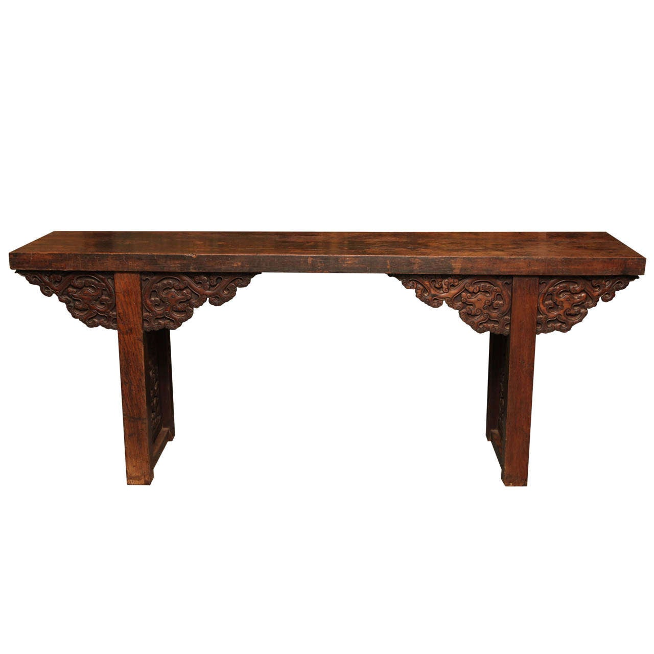 Large Antique Chinese Palace Altar Table with Carvings from the 19th Century