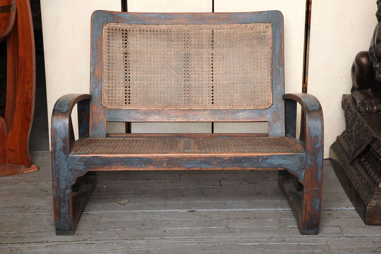 This pair of large burmese arm chairs is no longer available - Burmese Art Deco Teak Settee And Chair 2